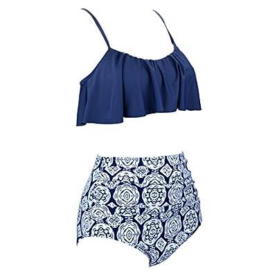 Angerella Womens High Waisted Bikini Flounce Top Bathing Suits Swimwear: Clothing