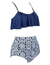 Angerella Womens High Waisted Bikini Flounce Top Trajes de baño Trajes de baño