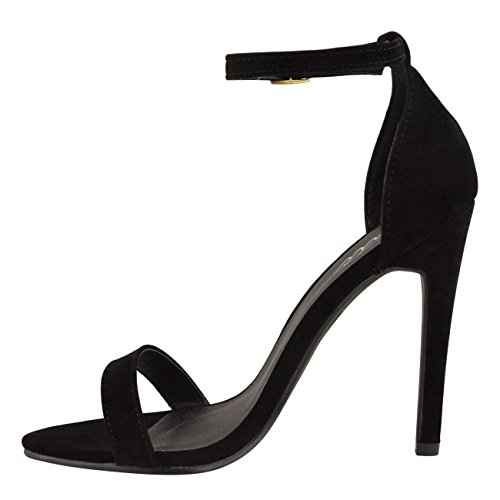 Miss Image UK Womens Ladies High Stiletto Heel Barely There Strappy Ankle Strap Party Sandals Shoes Size Black Faux Suede KqKb4Ur
