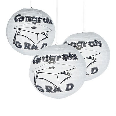 White Congrats Grad Paper Lanterns by Fun Express