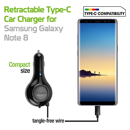 ) Fast Charging USB Type-C Retractable Car Vehicle Charger Compatible for Motorola Z3 Play, Moto G6, X4, Z2 Force, Z2 Play, Z Droid, Z Force Droid, Z Play Droid, Z3 and More ()