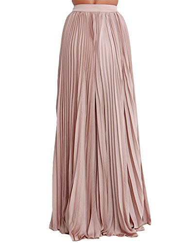 Women's Plain Formal Pleated Maxi Skirt at Amazon Women's Clothing ...