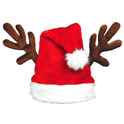 Amscan Santa Hat with Antlers, Multicolor