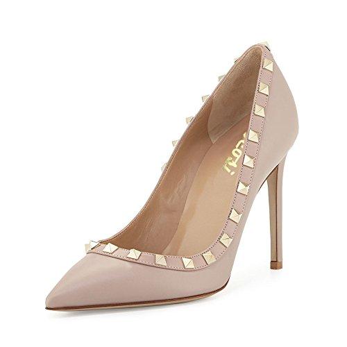 Spitz matt Natürliche Schuhe Pumps Frauen Stiletto Nieten High Hochzeit Kleid VOCOSI Heel Mode Damen Party ASw6Iqq