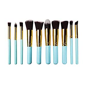 STELLAIRE CHERN Makeup Brushes 10 Piece Makeup Brush Set Premium Synthetic Foundation Blending Brush Face Powder Blush Concealers Eye Shadows Make Up Brushes Kit - Green