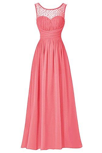 Bbonlinedress Vestido De Ceremonia Elegante Largo Sin Mangas Coral