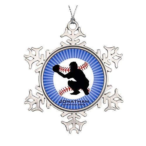 wonbye Christmas Ornaments 2018, Personalized Baseball (Catcher) Ornament Pattern Metal Snowflake Tree Decoration (Mini Baseball Christmas Ornament)