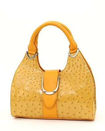 Ostrich Handbags Designer Inspired Animal Print Purse Buckle Bag - Yellow