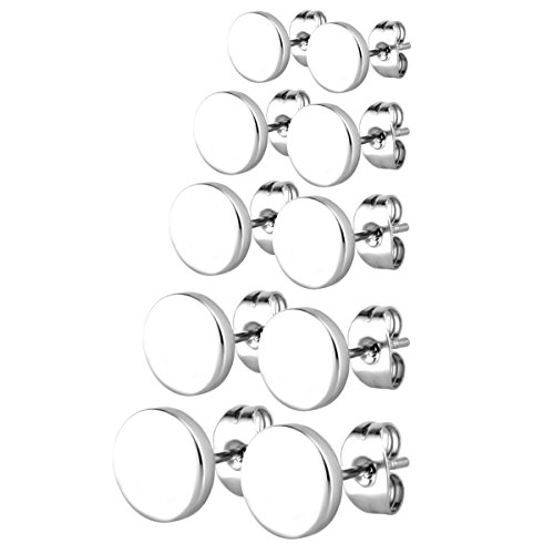 Charisma Stainless Steel Round Stud Earrings Pierced Tunnel for Men Women 5 Pairs Set, 3mm-8mm Available (Round Pierced Earrings)