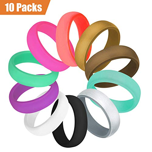 COOLOO 10 Pack Silicone Wedding Ring for Women, Premium Medical Grade Wedding Bands Thin and Stackable Durable Comfortable Antibacterial Rubber Rings, Black White Pink Silver