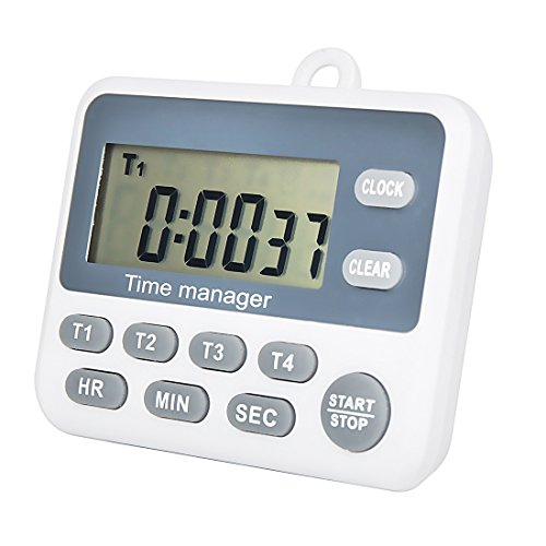 Digital 4 Channel Groups Count Down UP Timer with Clock for Cooking School Meeting Laboratory Parking Noon Break Beauty Salon - Cooks Club Digital Timer