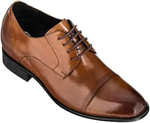 529ff2c6a5b CALTO Men's Invisible Height Increasing Elevator Shoes - Premium Leather  Lace-up Formal Oxfords -