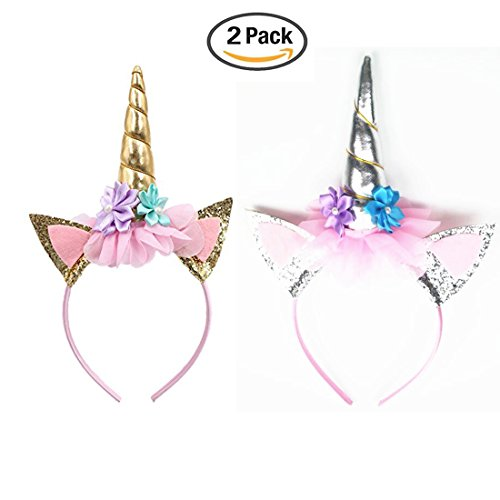 Oexper 2 Pack Glitter Unicorn Horn Headband, Flowers Ears Headbands for Party Decoration or Cosplay Costume (Gold + Silver)