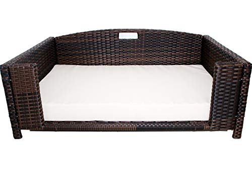 Rattan Small Rectangular Pet Bed, Indoor/Outdoor