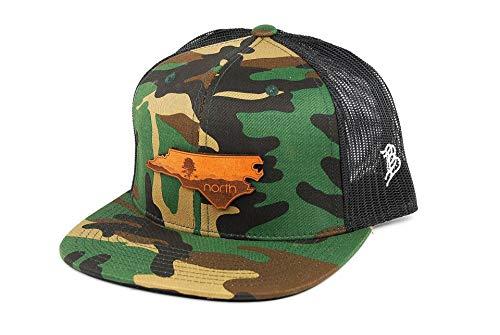 Blue Ridge Leather (Branded Bills North Carolina 'The Blue Ridge' Leather Patch Hat Flat Trucker - OSFA/Camo/Black)