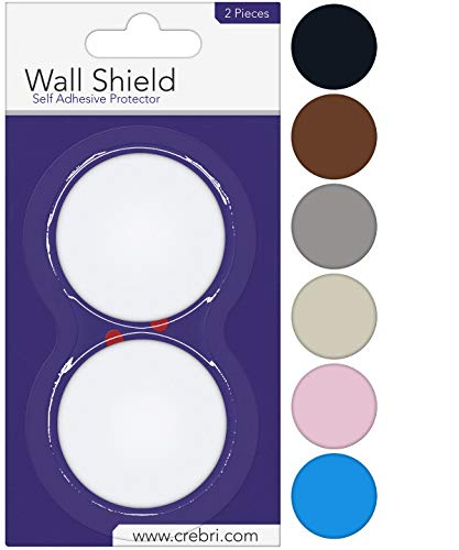 (Door Stopper Wall Protector - Round Door Knob Wall Shield White Self Adhesive - Prevents Holes (2 inches, White))