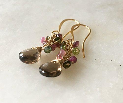Watermelon Tourmaline and Smoky Topaz Earrings, 14K Gold - Smoky Tourmaline Ring