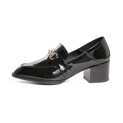 Cuero Sujetadores Zapatos Redonda Tacón Sencillos Casuales Metal De wqZaIx