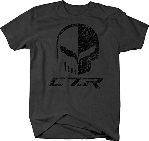 Skull Punisher T-shirt (OS Gear Distressed - Chevy Corvette C7 Racing Punisher Skull Flags Tshirt - Large)