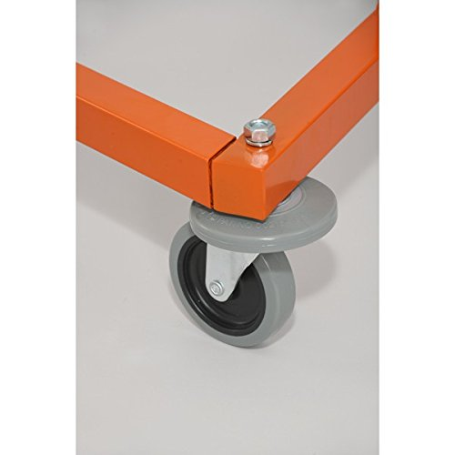 Only Hangers GR400EH Only Commercial Grade Double Bar Rolling Z Rack with Nesting Orange Base