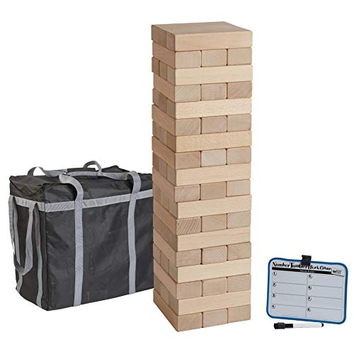 ECR4Kids Number Tumbler Giant Tumble Tower, Large Wood Stacking Block Game with Storage Bag and Dry-Erase Board for Bonus Rules, Just Right 20