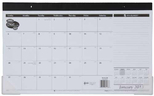 AT-A-GLANCE Recycled Compact Desk Pad, 17.8 x 11 Inches, White, 2013 (Mead Desk Organizer)