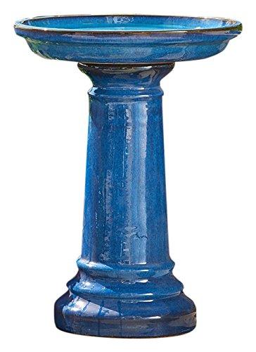 Smart Living 207104-BT Aviatra Ceramic Birdbath, Blue, With Easy Assembly And Great Durability
