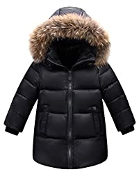 Mallimoda Boys Girls Winter Fur Hooded Parka Down Jacket Puffer Bubble Coat