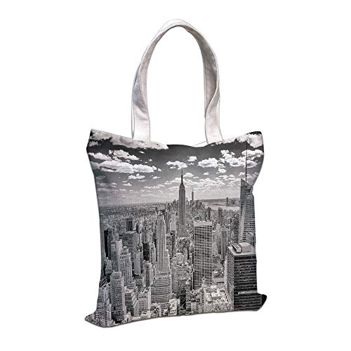 iPrint Cotton Linen Tote Bag, York,NYC Over Manhattan from Top Skyscrapers Urban Global Culture Artful City Panorama,Grey Shopping Camping School Casual Pocket