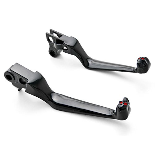 Krator Harley Davidson Black Brake / Clutch Skull Hand Levers (1996-2012) Billet Aluminum Black Brake and Clutch Skull Hand Grips Levers Left and Right One Pair Motorcycle 2012 Motorcycle Levers