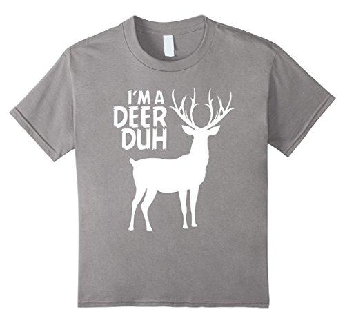 Boys Deer Hunter Costume (Kids I'm a Deer Duh T-Shirt Deer Costume Gift Idea 10 Slate)