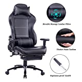 Blue Whale Waist Massage PC Gaming Chair with Metal Base and Footrest,Ergonomic Executive Reclining Office Computer Desk Chair Leather Swivel Chair with Headrest and Adjustable Armrests 8W-263 Black