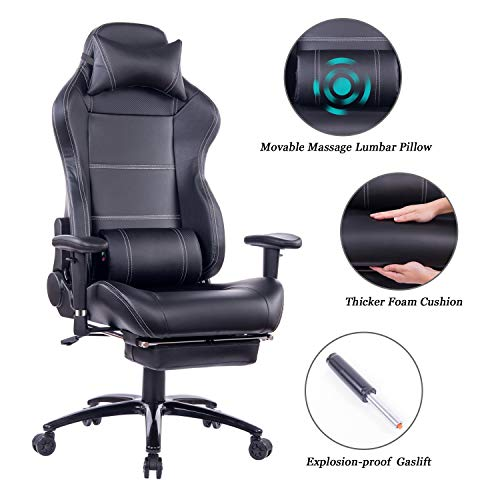 HEALGEN Massage Gaming Chair with Heavy Duty Metal Base,PC Computer Video Game Chair Racing Gamer Chair Reclining Office Desk Chair with Footrest &Headrest (8263 Black)