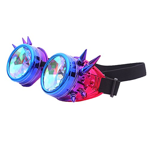 Kaleidoscope Steampunk Rave Goggles with Colorful Rainbow Crystal Glass (Sf Raves Halloween)