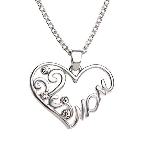 Bling Stars Mom Necklace Clear Crystal Filigree Heart Shape Pendant Necklace Gift for ()