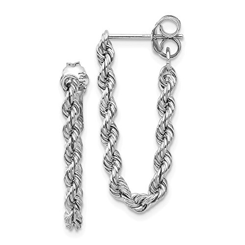 FB Jewels Solid 14K White Gold Rope Chain Dangle Post Earring