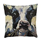"Fxbar Animal Pattern Pillowcase Cow Pig Dog Watercolor Painting Pillow Shell, Sofa Home Car Decor Throw Cushion Cover, 18'' x18"" (C)"