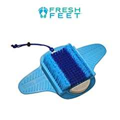 Fresh Feet the fastest, easiest and safest way to scrub your feet clean in the shower. The secret is in the incredible 11,000 bristles that combined with our pumice stone work together to clean, refresh and revitalize your feet in just second...