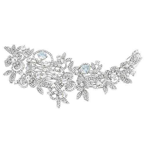 EVER FAITH CZ Austrian Crystals 6.6 Inch Bridal Flower Leaf Cluster Hair Comb Clear
