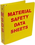 "Brady 2023 1-1/2"" Diameter Rings, Polyethylene, Red On Yellow Color Standard MSDS Binder, Legend ""Material Safety Data Sheets"""