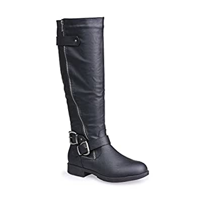 Twisted Women's Amira Asymetrical Zipper and Buckle Knee-High Riding Boot- BLACK, Size 7