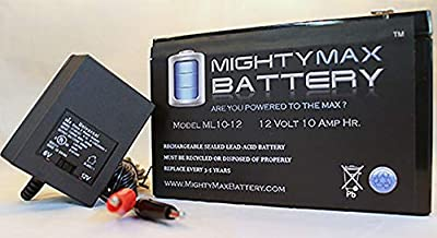 12V 10AH Replacement Battery for Lawn Mower + 12V Charger - Mighty Max Battery brand product