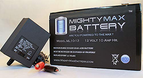 Mighty Max Battery ML10-12 12V 10AH Replaces Mongoose M500 Scooter Battery + 12V Charger brand product