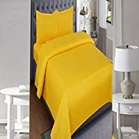 SINGHS MART Presents Fitted 240TC100% Cotton Plain/Solid Yellow Bedsheet for Single Bed with Matching 1 Pilllow Cover for Your Bed Room
