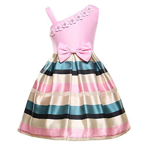 Girls Dress Backless Floral Flare Sleeve Bow Kids Dresses for Girls Princess Dress,Pink,7 -