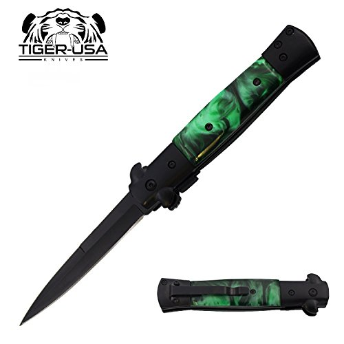 "9"" Green Marble Handle and Black Blade Assisted Open Godfather Milano Pocket Knife"