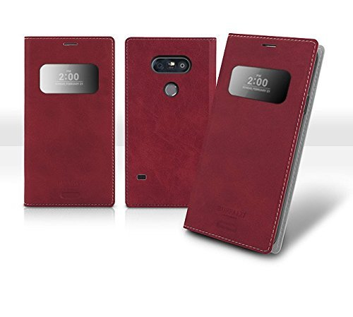 Tour Dates Poster (G5 View Flip Wallet Case, Smart Wake up, Sleep Function, Quick View Window, Time / Call ID, LG G5 Soft Leather Cover, 9 Colors - Retail Packaging (Red Wine))