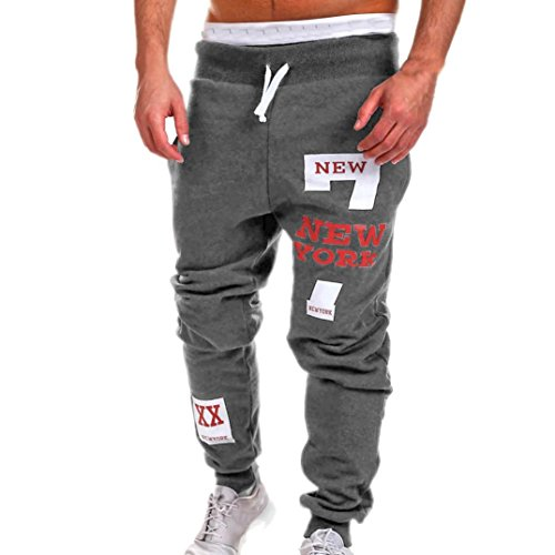 Men Casual Pants,Lelili Fashion New York Letter Printed Drawstring Waist Pockets Loose Sweatpants Trousers (2XL(Asian 2XL=US L), Dark Gray) - Loose Fit Printed Pocket