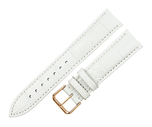 16mm Buckle - RECHERE Alligator Crocodile Grain Leather Watch Band Strap Rose Gold Pin Buckle (White 16mm)