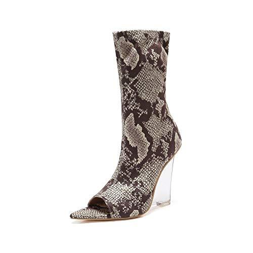 MACKIN J 408-1 Women Faux Suede Peep Toe Lucite Wedge Heel Bootie (9, Snake)